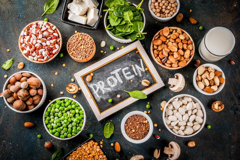 vegan-protein-sources-healthy-diet-vegan-food-veggie-protein-sources-tofu-vegan-milk-beans-lentils-nuts-soy-milk-spinach-seeds-108374076