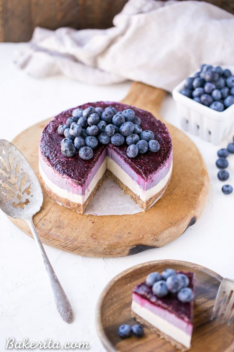 No-Bake Layered Blueberry Cheesecake (Vegan)