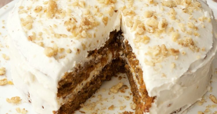 Vegan Carrot Cake with Lemon Buttercream Frosting